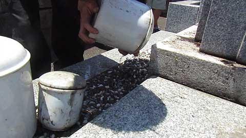 骨壺の水切り